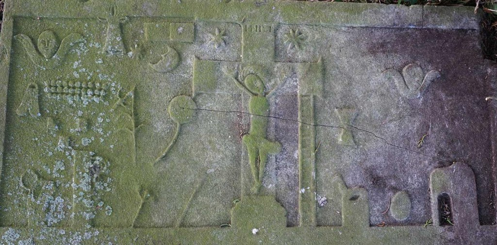 Grave slab from nearby Temple-etney, decorated with the passion symbols found at Kilcash